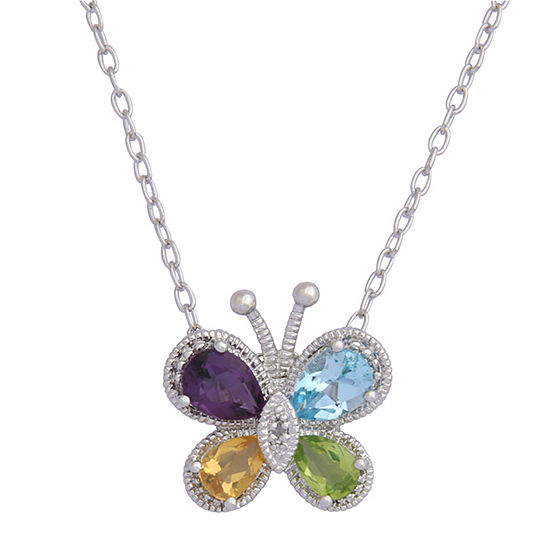 Stone Bronze 18 Inch Cable Butterfly Pendant Necklace