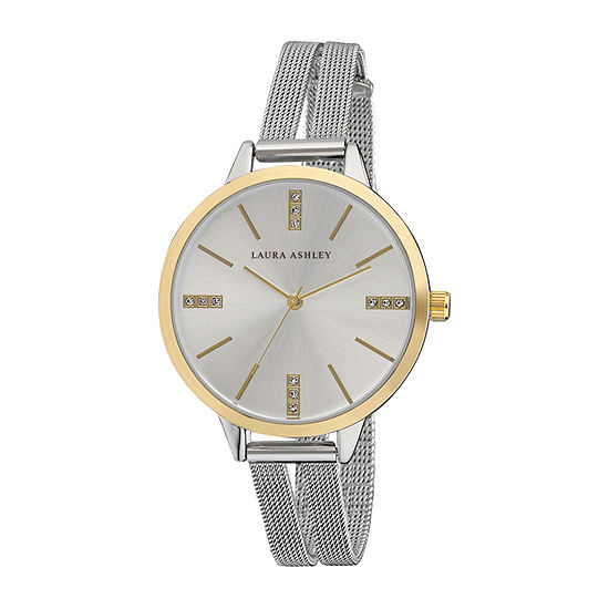 Laura Ashley Womens Silver Tone Stainless Steel Strap Watch-La31054tt