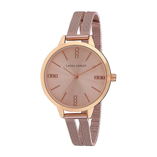 Laura Ashley Womens Pink Stainless Steel Strap Watch-La31054pk