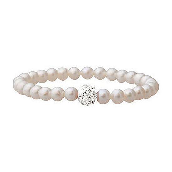 Girls Cultured Freshwater Pearl & Crystal Bracelet
