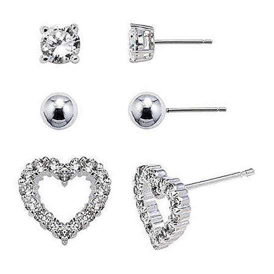 Sterling Silver 3-Pr. Earring Set