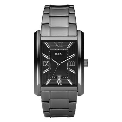 Relic® Mens Gunmetal Rectangle Watch  ZR77109