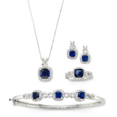 Lab-Created Blue Sapphire & Cubic Zirconia 4-pc. Set