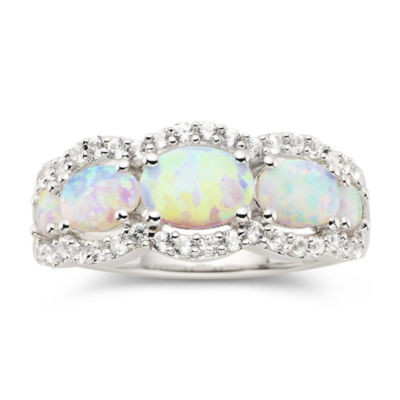 Lab-Created Opal & White Sapphire Band Ring