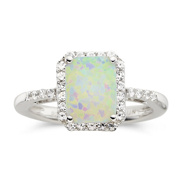 Lab-Created Cushion-Cut Opal & White Sapphire Ring