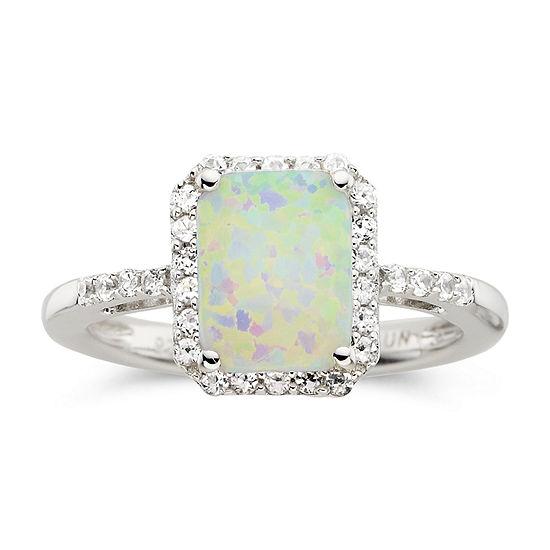 Lab-Created Cushion-Cut Opal & White Sapphire Ring