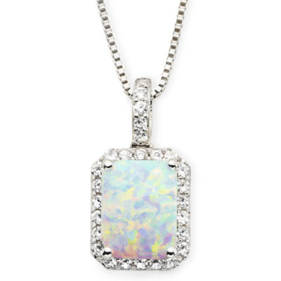 Lab-Created Opal & White Sapphire Pendant Necklace