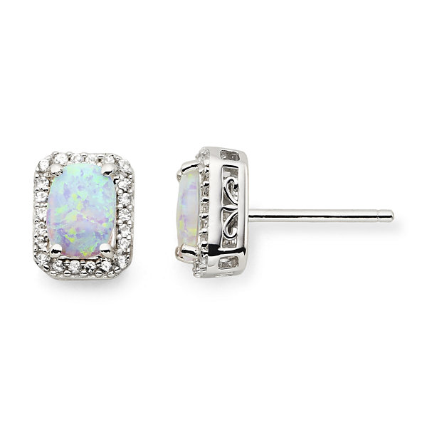 Lab-Created Opal & White Sapphire Stud Earrings
