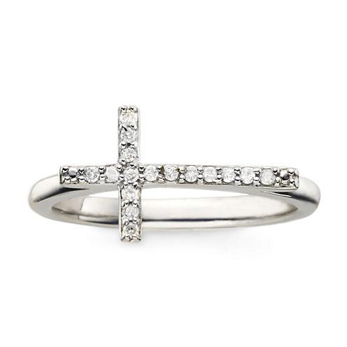 1/10 CT. T.W. Diamond Sterling Silver Mini Sideways Cross Ring