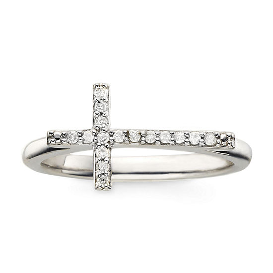 1/10 CT. T.W. Diamond Sterling Silver Mini Sideways Cross Ring