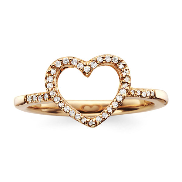 10 CT T W Diamond14K Rose Gold Plated Mini Heart Ring