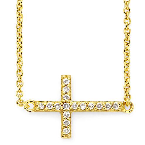 1/10 CT. T.W. Diamond Cross 14K Yellow Gold-Plated Mini Cross Pendant Necklace