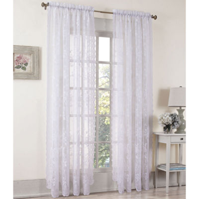Alison 2-Pack Rod-Pocket Sheer Lace Curtain Panels