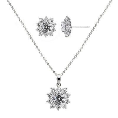 DiamonArt® Cubic Zirconia Sterling Silver Flower Earring and Pendant Necklace Set