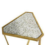 Stylecraft Gold and Mirrored Triangle Chairside Table