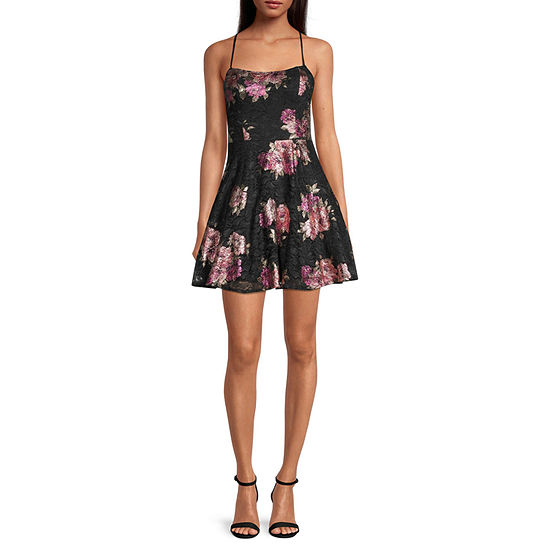 City Triangle-Juniors Sleeveless Floral Lace Fit & Flare Dress