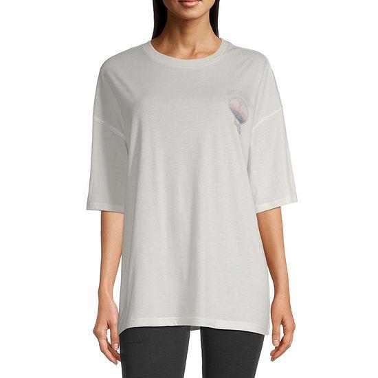 Flirtitude-Juniors Womens Crew Neck Short Sleeve Graphic T-Shirt