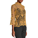 Bold Elements Womens High Neck 3/4 Sleeve Lace Blouse