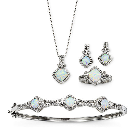 Lab Created Opal Cubic Zirconia 4 Pc Set