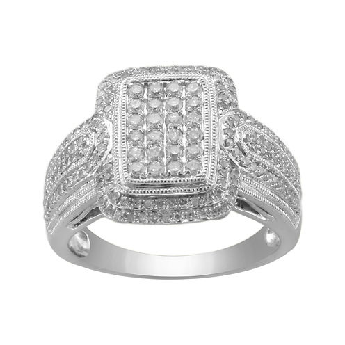 ¾ CT. T.W. Diamond Square-Center Ring
