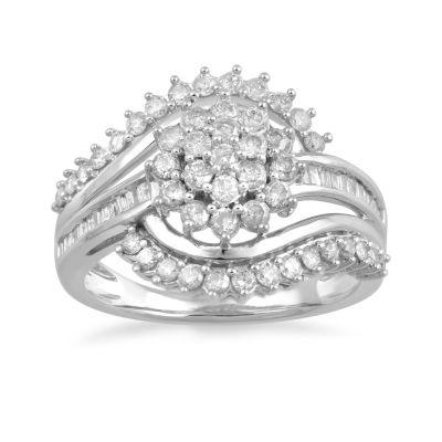 Diamond Blossom Womens 1 CT. T.W. Genuine White Diamond 10K Gold Cluster Cocktail Ring