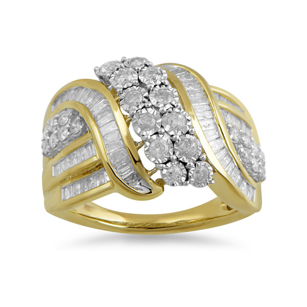 Womens 1 CT. T.W. Genuine White Diamond 10K Gold Cocktail Ring