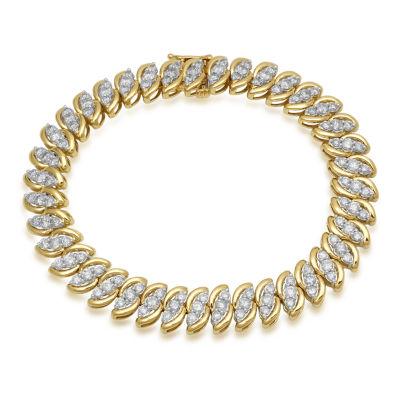 Womens 7 1/4 Inch 5 CT. T.W. White Diamond 10K Gold Link Bracelet