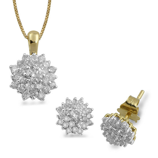 Diamond Blossom 1 CT. T.W. Genuine White Diamond 10K Gold 2-pc. Jewelry Set