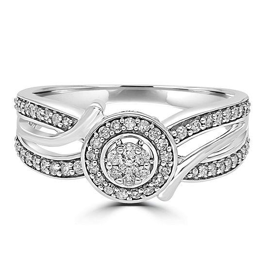 Womens 1/3 CT. T.W. Genuine White Diamond 10K Gold Round Promise Ring