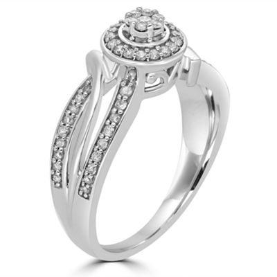Womens 1/3 CT. T.W. Round White Diamond 10K Gold Promise Ring