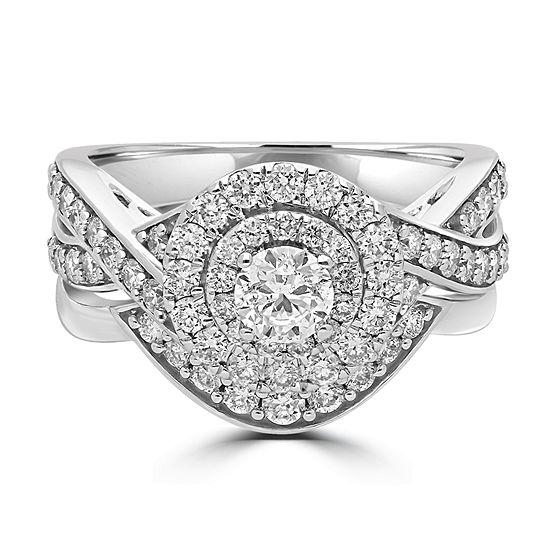 Modern Bride Signature Womens 1 1/2 CT. T.W. Genuine White Diamond 14K Gold Bridal Set