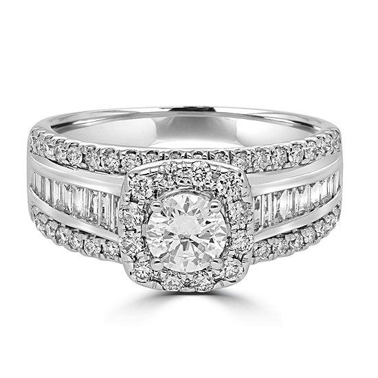 Modern Bride Signature Womens 1 1/2 CT. T.W. Genuine White Diamond 14K Gold Engagement Ring