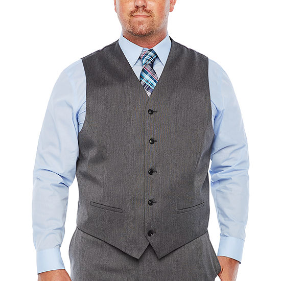 JF J.Ferrar Mens Pin Dot Classic Fit Suit Vest - Big and Tall