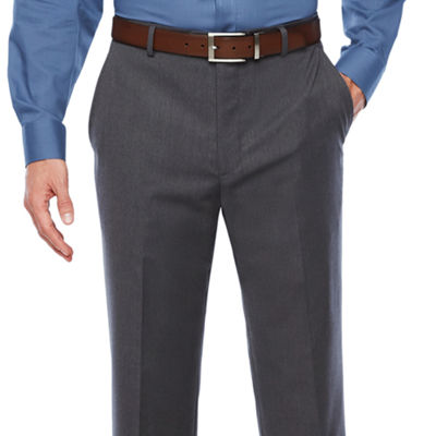 Stafford Travel Medium Grey Classic Fit Flat-Front Suit Pants