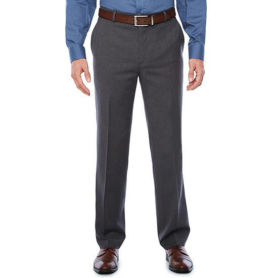 Stafford Medium Grey Travel Woven Suit Pants-Slim Fit
