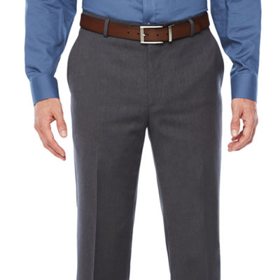 Stafford Medium Grey Travel Woven Suit Pants-Slim Fit