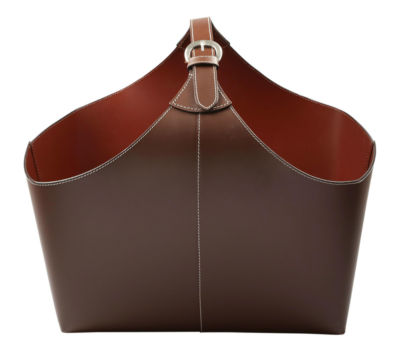 St. Croix Trading Brown Leather Magazine Basket with Strap
