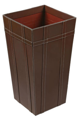 "St. Croix Trading Tall 22"" Brown Leather Basket"""
