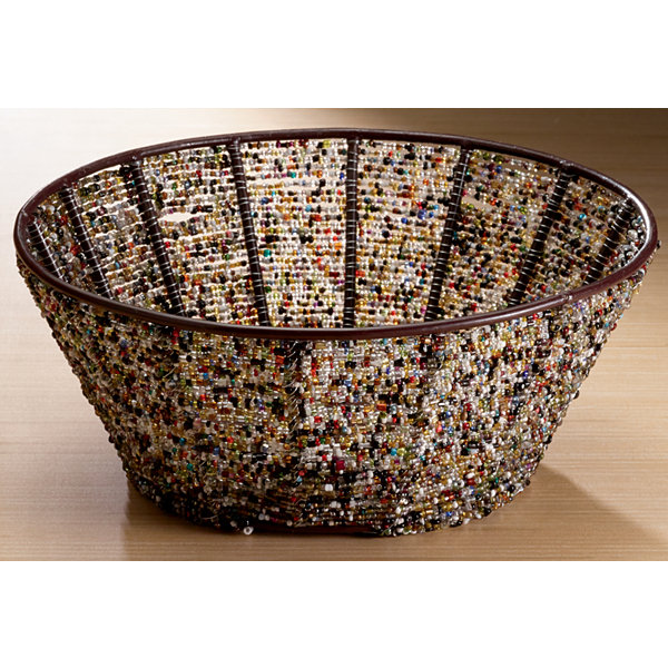 St. Croix Trading Round Iron Basket with Multi Color Beads 10""