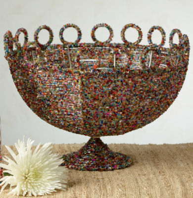 St. Croix Trading Round Beaded Decorative Basket 11""