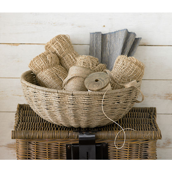 St Croix Trading 14 Woven Jute Rope Basket With Iron Frame