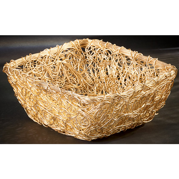 "St. Croix Trading Gilded 8"" Square Twist Wire Mesh Basket"