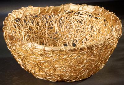 """St. Croix Trading Gilded 9"""" Round Twist Wire Mesh Basket"""
