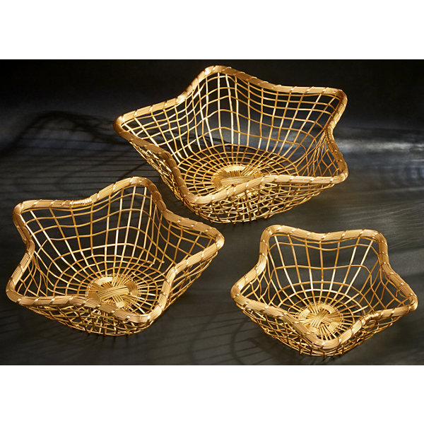 St. Croix Trading Set of 3 Gilded Wire Star Baskets