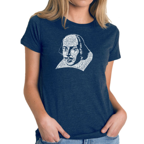 Los Angeles Pop Art Women's Premium Blend Word ArtT-shirt - THE TITLES OF ALL OF WILLIAM SHAKESPEARE'S COMEDIES & TRAGEDIES