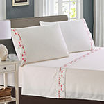 Harper Lane Tropic Malinche  Flamingo Parade Embroidered Microfiber Easy Care Sheet Set