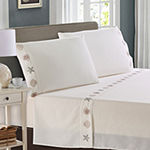 Harper Lane Tropic Malinche Gold And Silver Embroidered Microfiber Easy Care Sheet Set