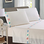 Harper Lane Tropic Malinche Colorful Shells Embroidered Microfiber Easy Care Sheet Set