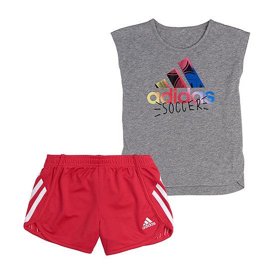adidas Little Girls 2-pc. Short Set