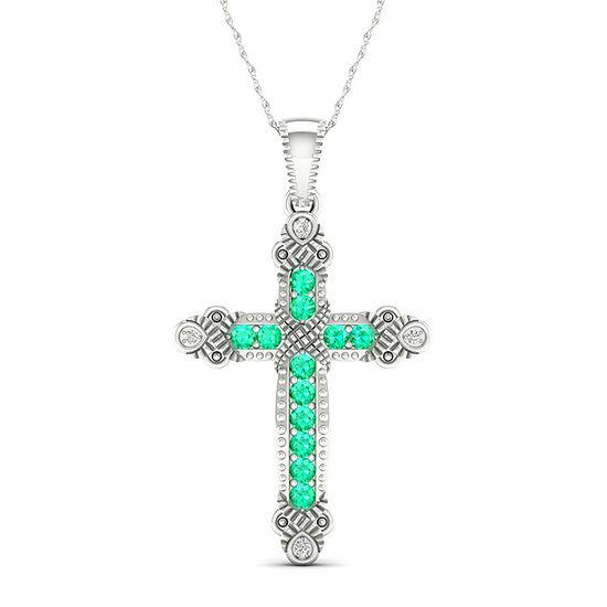Womens Genuine Green Emerald 10K White Gold Cross Pendant Necklace